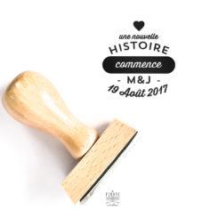 Tampon Mariage initiales en bois, nouvelle histoire