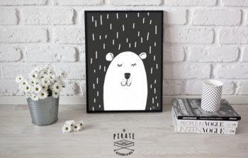 Affiche Ourson sous La Pluie - Noir et Blanc