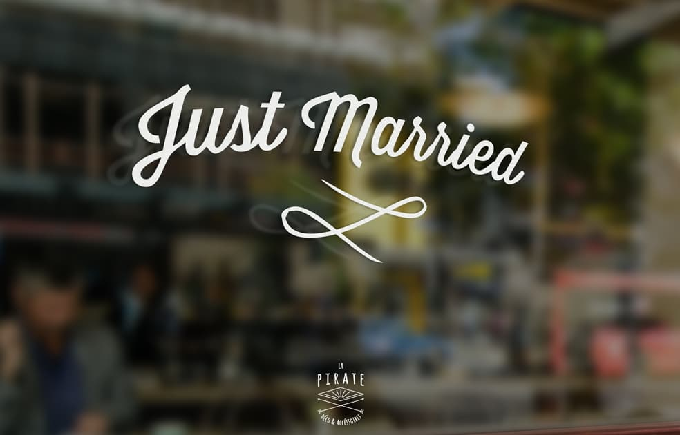 Stickers Just Married Voiture Mariage