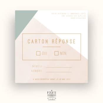 Carton répons, RSVP de Mariage personnalisé Carré Aquarelle Graphique - La Pirate