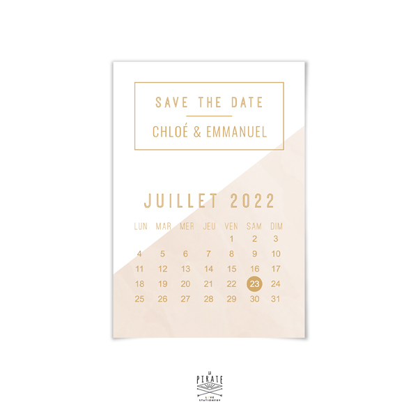 Save The Date Calendrier Personnalisé Mariage Graphique Chic