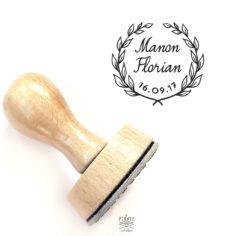 Tampon Mariage Couronne de Laurier personnalisé pour Mariage Champêtre