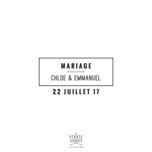 Tampon Mariage Graphique est personnalisé de vos prénoms et date de mariage - graphique chic - La Pirate