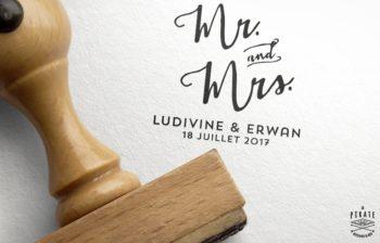 Tampon Mariage Mr And Mrs - Personnalisé avec prénoms et date du Mariage