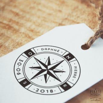 Tampon Mariage Voyage Rose des Vents – Boussole – La Pirate