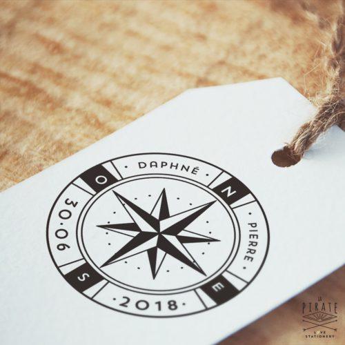 Tampon Mariage Voyage Rose des Vents - Boussole - La Pirate