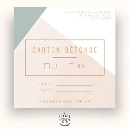 Carton réponse/RSVP de Mariage personnalisé Carré Aquarelle Graphique
