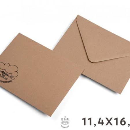 Enveloppes Kraft 11,4x16,2 cm - Enveloppes Kraft personnalisées 11,4x16,2 cm - Papier recyclé