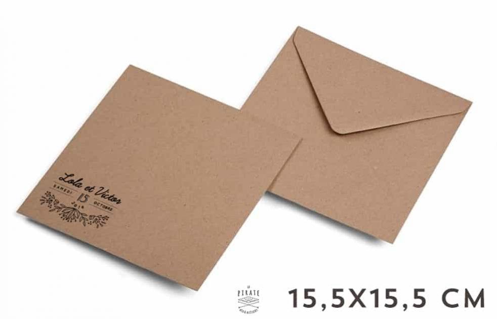 Enveloppes Kraft personnalisées 15,5x15,5 cm - Enveloppes Kraft 15,5x15,5 cm - Papier recyclé