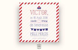 Faire-Part de Naissance carré avec Photo – Modèle Pompon Marin Rouge Verso