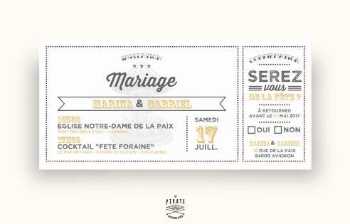 Faire-Part Mariage Bohème Carousel Vintage avec RSVP Mariage guinguette chic, fête foraine