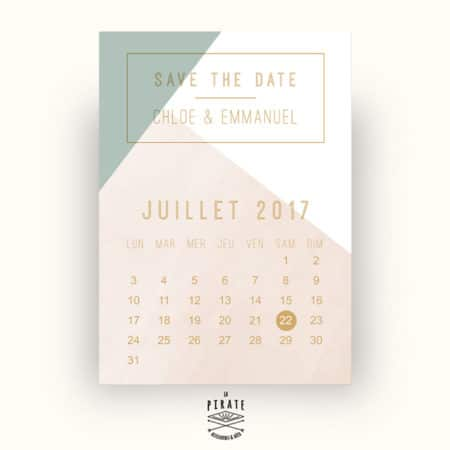 Save The Date Calendrier personnalisé Aquarelle Graphique