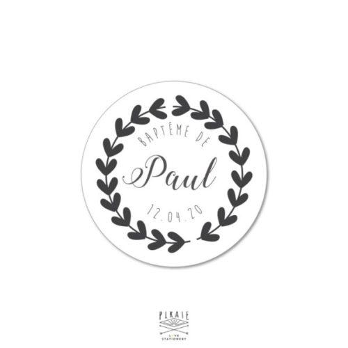 Stickers Baptême rond couronne coeur, autocollants personnalisés Couronne Coeur - La Pirate