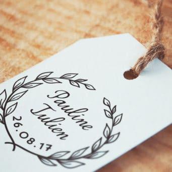 Tampon Mariage Couronne de Laurier pour Mariage Champêtre Etiquette