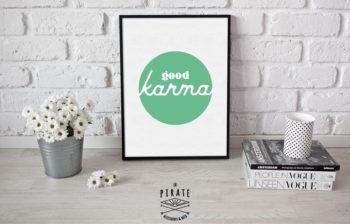 Affiche déco good karma Verte