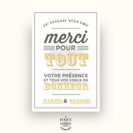 Carton de remerciements Mariage Bohème Carousel Vintage