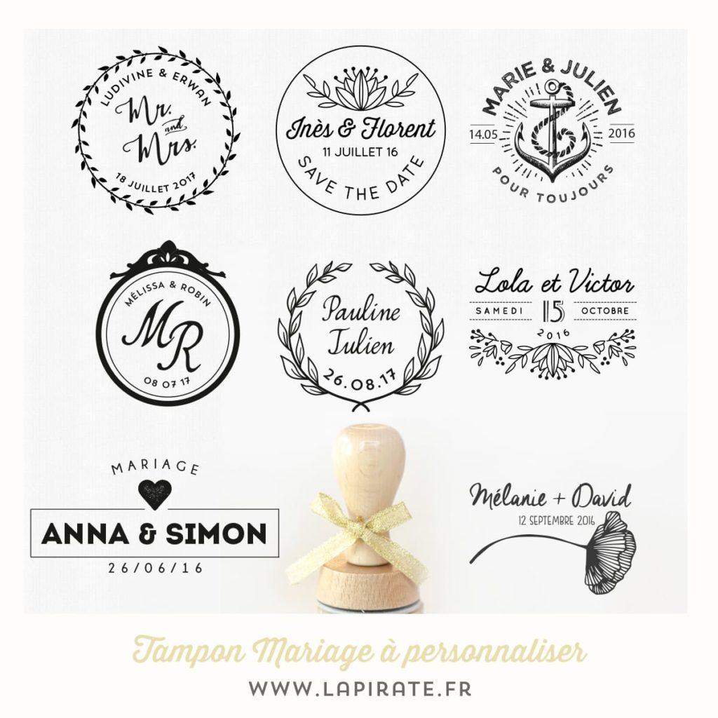 Personnalisez votre tampon mariage et apposez ce joli logo mariage sur tous les éléments de votre grand jour. Tampon mariage en bois, original et personnalisé.