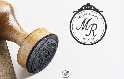Tampon Mariage Baroque personnalisé avec vos prénoms et initiales
