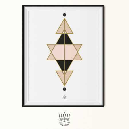"""Affiche déco scandinave géométrique - Affiche A3 """"Gold Geometry"""""""