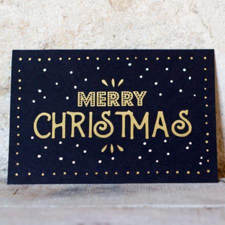 Carte de voeux vintage « Merry Christmas » Noire et Dorée