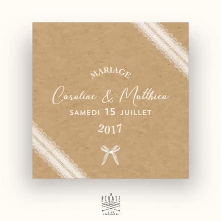 Faire-Part Mariage Kraft & Dentelle, Ruban, Noeud Papillon