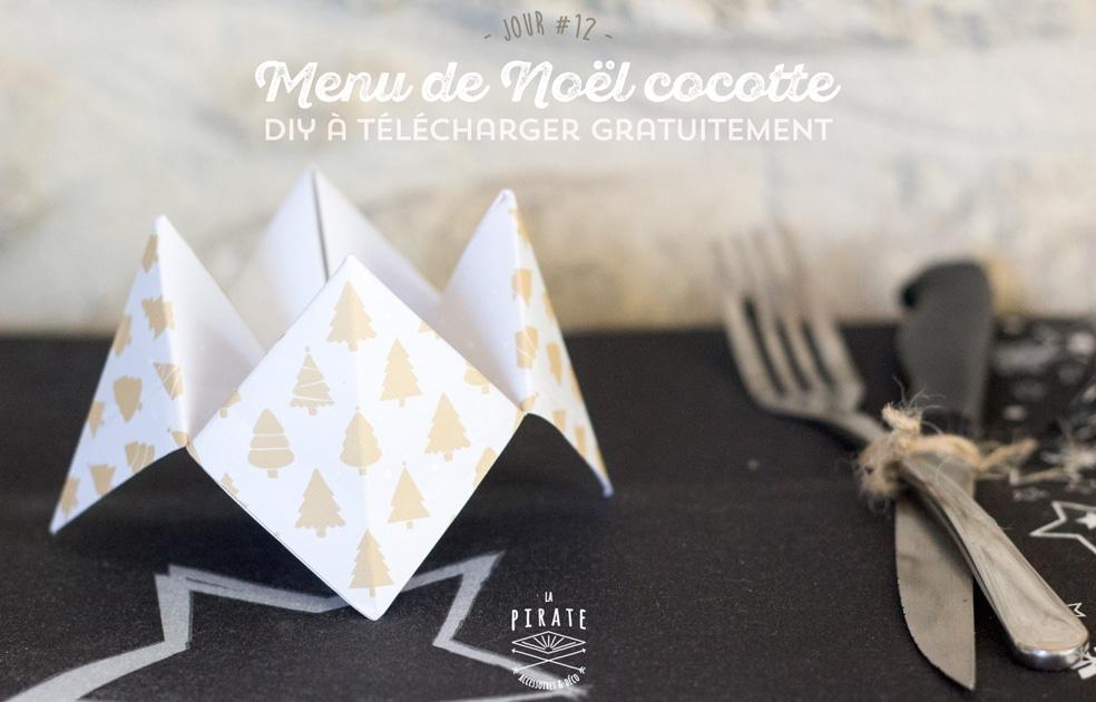 [Jour 12] DIY déco de Noël - Menu Cocotte à télécharger