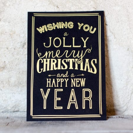 Carte de voeux vintage « Jolly Merry Christmas » Noire et Dorée
