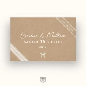 Save The Date Mariage Bohème Kraft & Dentelle - La Pirate