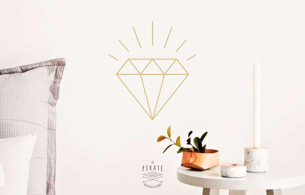 Stickers Diamant Doré- Décoration Scandinave