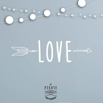 Stickers Love Vintage blanc –  Décoration Murale