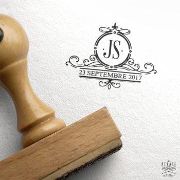 Tampon Mariage Vintage, Ornements rétro et initiales