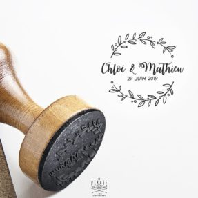 Tampon Mariage Calligraphie, Couronne d'Olivier - La Pirate