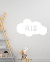 Stickers nuage blanc personnalisé prénom