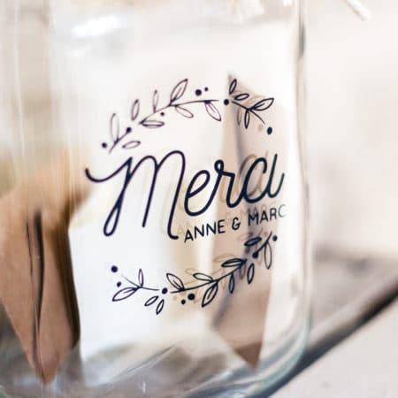 Stickers Merci, urne de mariage champêtre