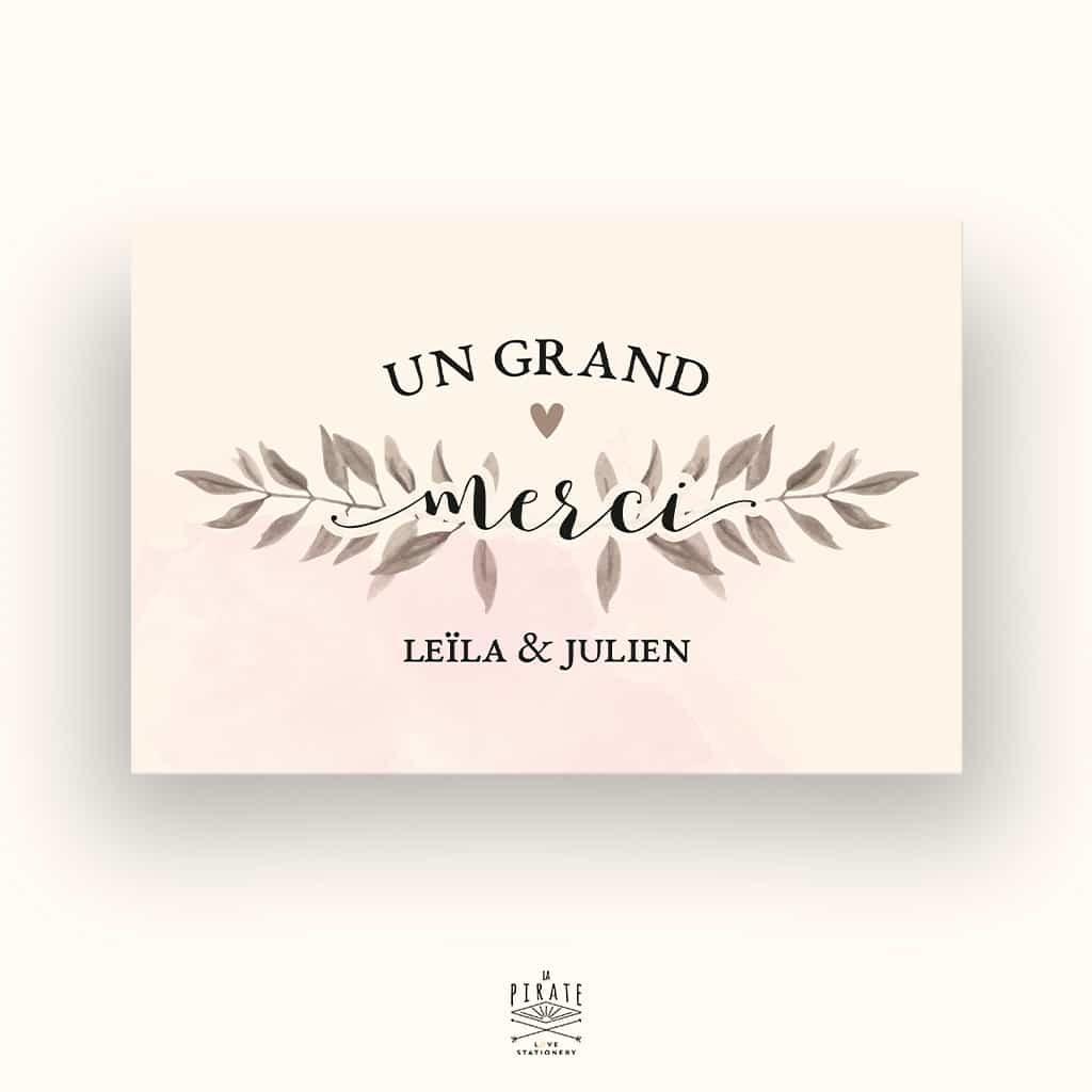 Carte de remerciements Mariage - Romance Aquarelle - La Pirate
