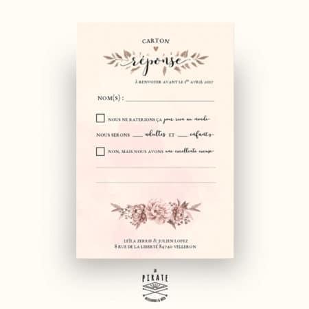 RSVP, Carton réponse mariage - Romance Aquarelle