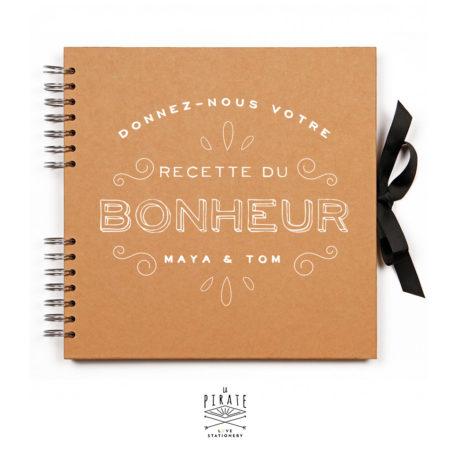 """Livre d'or Kraft et Blanc personnalisé """"Donnez-nous votre recette du bonheur"""""""