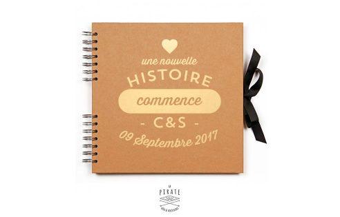 """Livre d'or Kraft et Doré personnalisé """"Une nouvelle histoire commence"""""""
