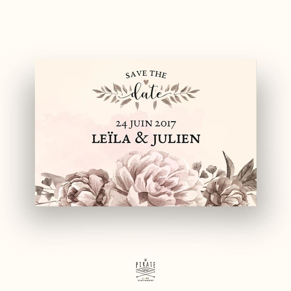 Save The Date Mariage Romance Aquarelle - La Pirate