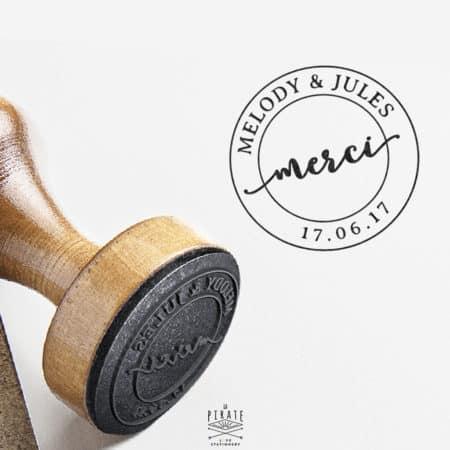 Tampon mariage vintage Merci, Remerciement Mariage - La Pirate