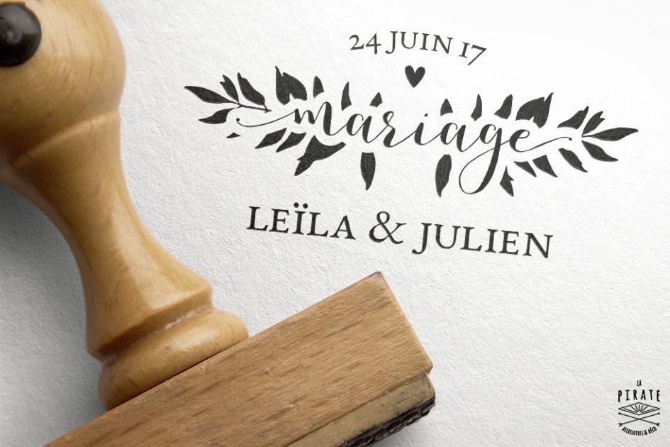 Tampon Mariage Romantique - Collection Romance Aquarelle