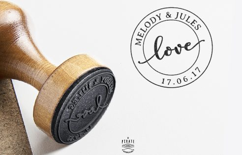 "Tampon mariage vintage ""Love"" - La Pirate"