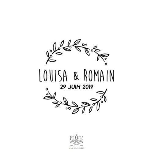 Tampon Mariage champêtre couronne d'olivier vintage, personnalisé avec vos prénoms et la date du mariage - La Pirate