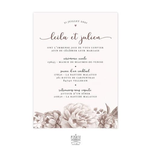 Faire-Part Mariage aquarelle et fleurs personnalisé pour votre mariage vintage et romantique - La Pirate