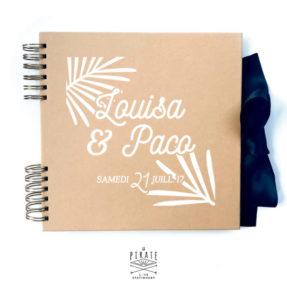 Livre d'or Kraft et blanc Palmista personnalisé de vos prénoms et date de mariage - Mariage Exotique - La Pirate