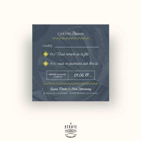 Carton réponse/RSVP exotique Carré - Midnight Palm