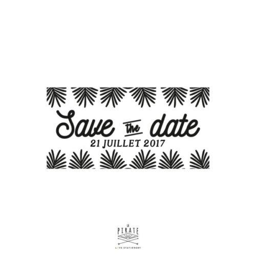 Tampon Save The Date personnalisée avec la date de votre mariage sur le thème Exotique - Collection Palmista - La Pirate