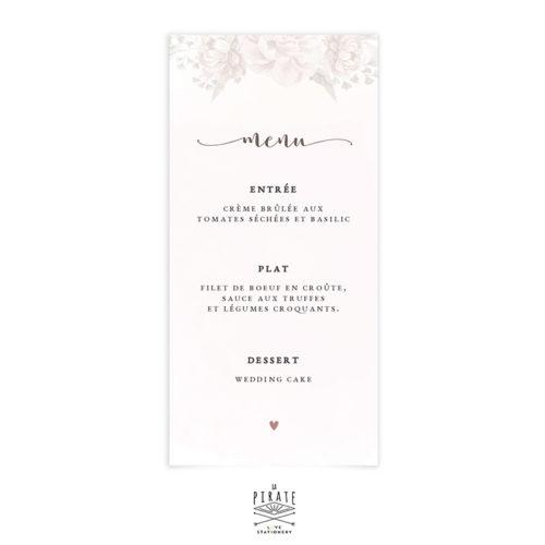 Menu mariage aquarelle et fleurs à personnaliser pour votre déco de table de mariage vintage et romantique - La Pirate