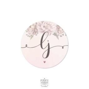 Stickers rond mariage aquarelle romantique personnalisé avec les initiales des mariés - La Pirate