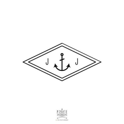 Tampon Mariage initales, en forme de Losange, à personnaliser de vos initiales de part et d'autre de son ancre vintage - La Pirate